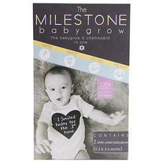 Buy babybundle Milestone Babygrow, White Online at johnlewis.com