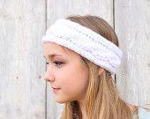 Chunky Cable Knit Headband - White