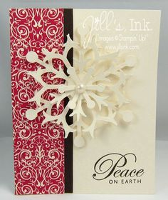 Jill's Snow Flurry card showcases Christmas elegance. It also uses Greetings of the Season & Candlelight Christmas dsp.