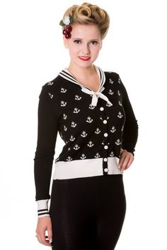 Banned Small Anchors Cardigan Black | Babashop