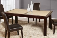 Sunset Gold Brown Wood Marble Stone Dining Table