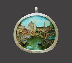 Venetian Scene, pendant. Silver, enamel. 5.5 x 5 cm. $3000