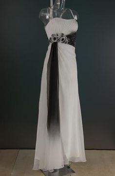 Wit met zwarte avondjurk 0085