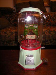 Vintage COLUMBUS One Cent 1 Penny Gumball Porcelain Cast Iron Vending Machine  #COLUMBUS