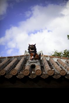 Shisa statue on the rooftop in Okinawa, Japan - Shisa is a traditional Ryukyuan decoration, often in pairs, resembling a cross between a lion and a dog, from Okinawan mythology. People place pairs of shisa on their rooftops or flanking the gates to their houses. Shisa are wards, believed to protect from some evils.