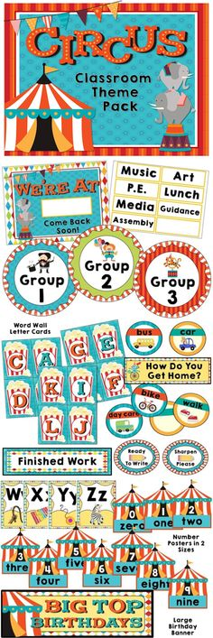 Circus decor bundle for your classroom - 124 pages of signs, labels, posters, and more! Circus Classroom Decor