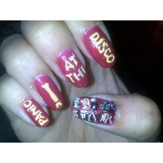 Panic at the disco nails Emo Nail Art, Band Nails, Disco Makeup, Music Nails, Crystal Nails, Panic! At The Disco, Nail Art Galleries, Cool Nail Designs, Lip Art