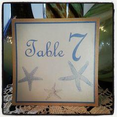Starfish Beach Wedding Table Number.