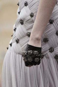 Woven Fabric Dress - soft & feminine meets cool & edgy; delicate gathered fabric, woven structure and surface embellishment - fashion details  // Alexander McQueen