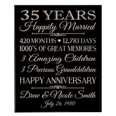 35th Wedding Anniversary Wall Plaque Personalized