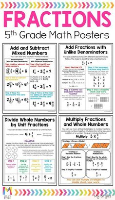 Jan 16, 2020 - These fractions anchor charts are the perfect addition to your 5th grade students interactive notebooks. These math posters are written in student friendly language and are ready to print to save you tons of time. Teaching Fractions, Multiplication, Teaching Math, Dividing Fractions, Multiplying Fractions, Adding And Subtracting Fractions, Teaching 5th Grade, Fractions Worksheets, Mind Maps