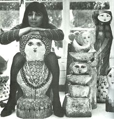 Gemma Taccogna - Inspirational artist and teacher - Working in paper mache in Mexico in the 50's and 60's