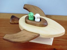 Wood Spaceship by TheToyBoxbyVinny on Etsy Wooden Animals, Wooden Toys, Toy Rocket, Wooden Tool Boxes, Classic Wooden Boats, Wooden Boat Plans, Unique Toys, Kids Wood, Wood Tools