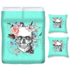 Sugar Skull Bedding Duvet Set Comforter Cover Duvet and Pillows Mint... ($109) ❤ liked on Polyvore featuring home, bed & bath, bedding, duvet covers, home & living, light blue, queen duvet, twin bedding, queen duvet set and king size duvet