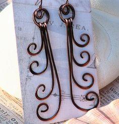 Fiddlehead Fern Copper Earrings Oh my gosh, what a great idea for simple, elegant earrings!