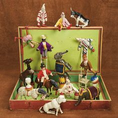 Remembering Mama: 68 American Wooden Circus by Schoenhut with Rare Figures and Original Box