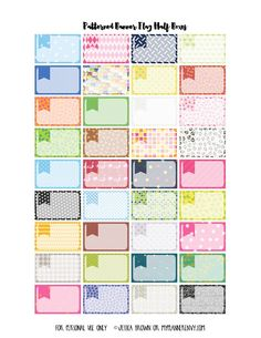 Free Patterned Banner Flag Half Boxes for the Erin Condren and Happy Planner on myplannerenvy.com