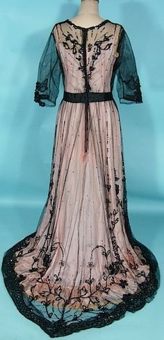 c. 1910 Black Sequin and Ribbon Embroidery on Net Edwardian Trained Overdress