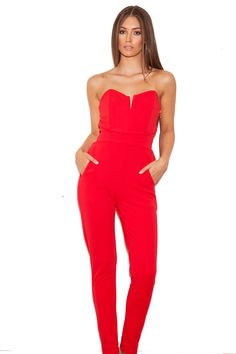 Clothing : Jumpsuits : 'Perla' Red Stretch Crepe Strapless Jumpsuit (this is the jumpsuit Cait wore). It might go well with my skin tone- light olive like the model $156 (affordable) - Free Sheeping to the US