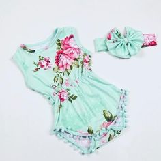 Mint And Pink Floral Pom Pom Romper