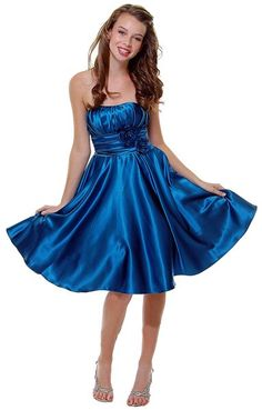 Teal Blue Knee Length Bridesmaid Dress Strapless Satin Rose Flower Empire Pleated Bodice $87.99