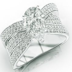 1.49 Carat GIA Certified Pear Cut / Shape Contemporary Pave Set Triple Row Engagement Ring