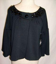 Size Medium Nine West Jacket Blazer Black Nwt Jeweled Collar  Evening M