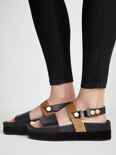 Little Rock Flatform Sandal | Must-have flatform sandal featuring a leather design with a textured hair accent. * Adjustable heel strap with snap button closures
