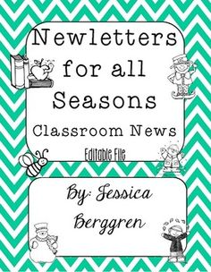 Do you send home a classroom Newsletter? Would you like a pre-formatted Newsletter with seasonal graphics? Then this is the set for you!This file contains 12 Editable Newsletter Templates. You can type into the Classroom News in 4 different boxes with any information you wish to send home to students and parents.