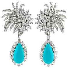 Elegant Turquoise Diamond Platinum Day and Night Drop Earrings