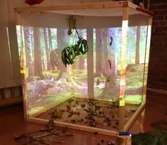 I like the idea of using a projector to portray a background. It's a neat idea! Play Based Learning, Project Based Learning, Learning Spaces, Learning Centers, Early Learning, Preschool At Home, Preschool Science, Preschool Classroom, Teaching Kindergarten