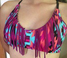 Reversible fringe neon Aztec sport top  on Etsy, $45.00