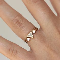 Trillion de diamant ensemble de mariage avec une bague par artemer