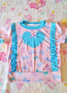 RESERVED Pastel bow ruffle top top pink blue slouchy fairy pop kei size small S
