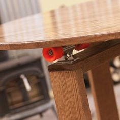 5' Round Cupping Table-Skateboard Lazy Susan Technology by Monica Hughes Round Dining Table, Dining Room Table, Skateboard Trucks And Wheels, Lazy Susan Table, Custom Skateboards, Looks Cool, Picnic Table, Technology, Furniture