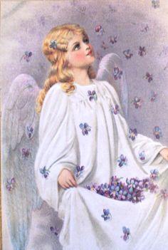 Lot of 10 Angels Flowers Postcards Unused New Vintage Ephemera, Vintage Postcards, Vintage Images, Seraph Angel, Angel Flowers, Angel Illustration, Victorian Angels, I Believe In Angels, Sweet Violets