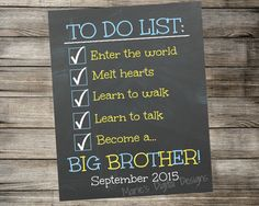 To do list - Big Brother chalkboard photo prop - Printable Pregnancy Announcement
