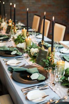 Wedding Guest Table, Wedding Table Settings, Wedding Centerpieces, Wedding Decorations, Table Decorations, Olive Branch Wedding, Wedding Mint Green, Martha Stewart Weddings, Casual Wedding