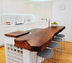 Moderne Küchenmöbel Kochinsel Aus Holz Und Attraktive Barhocker