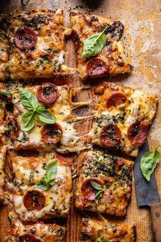 Easy Sheet Pan Tomato Herb Pizza | halfbakedharvest.com Cherry Tomato Sauce, Roasted Cherry Tomatoes, Pizza Recipes, Dinner Recipes, Dinner Ideas, Flatbread Recipes, Healthy Recipes, Healthy Eats, Harvest Pizza
