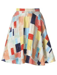 Alice and Olivia Multi-Coloured Block High-Waisted Skirt
