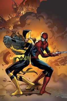 Kitty Pryde as Shadowcat and Peter Parker as Spider-Man (cover to Ultimate Spider-Man Vol. 1 #115)
