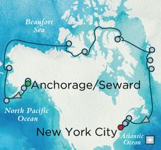The Northwest Passage Map  Anchorage to New York on Crystal Serenity