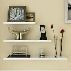 Top Home Dec Floating Wall Shelves Bookshelf Storage for CD Books Picture Frames Ornaments Collectibles Black Set of 3 ** Don't get left behind, see this great product : Floating Shelves Small Wall Shelf, Unique Wall Shelves, Diy Storage Shelves, Wall Shelving Units, Wall Shelf Decor, Wall Bookshelves, Wall Shelves Design, Metal Shelves, Display Shelves