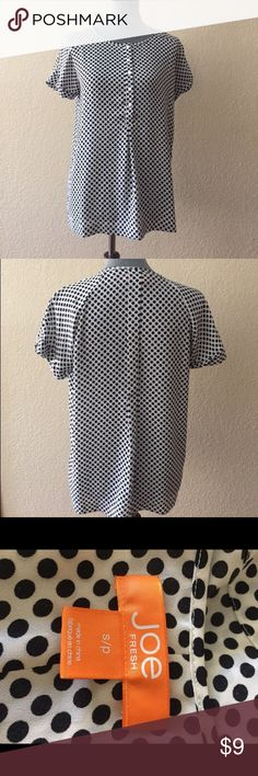 Polka dot top Black on white polka dot from Joe Fresh, EUC Joe Fresh Tops