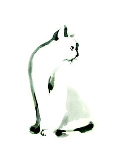 Minimalist Cat Ink Painting Art Print, Cat Kitten Art, Modern Minimalist Black and White Art