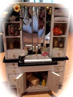 Dolls House Miniatures - Vanity Sink Unit and Accessories. $55.00, via Etsy.