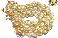 Citrine Smooth Nuggets (Quality C) Shape: Nuggets Smooth Length: 36 cm Weight Approx: 64 to 66 Grms. Size Approx: 15 to 21 mm Price $13.00 Each Strand