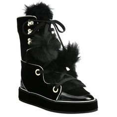Nicholas Kirkwood Polly shearling, velvet, and patent-leather boots, $1,395 net-a-porter.com