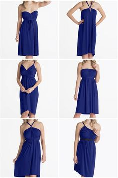Pack just ONE dress for your vacation! The Ivy Royal Blue Midi Convertible Dress is wrinkle resistant and can be worn in dozens of styles Convertible Wedding Dresses, Convertible Dress, Travel Dress, Travel Outfits, Travel Wardrobe, Purple Bridesmaid Dresses, Infinity Dress, Dress Tutorials, Everyday Dresses